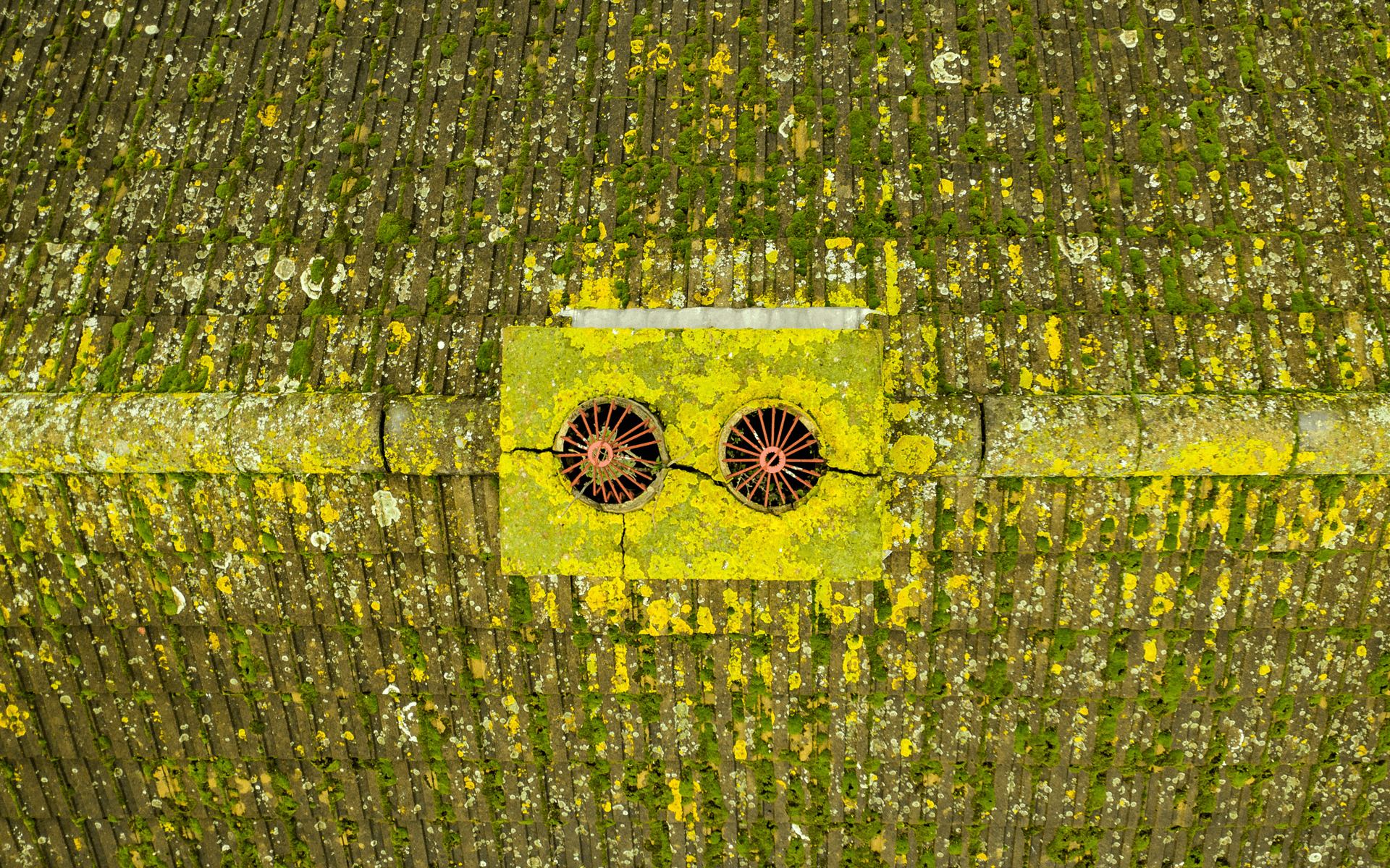 """Mavic 2 Pro"" aerial drone photo of a chimney from conducting an aerial roof survey in Newent, Wales"
