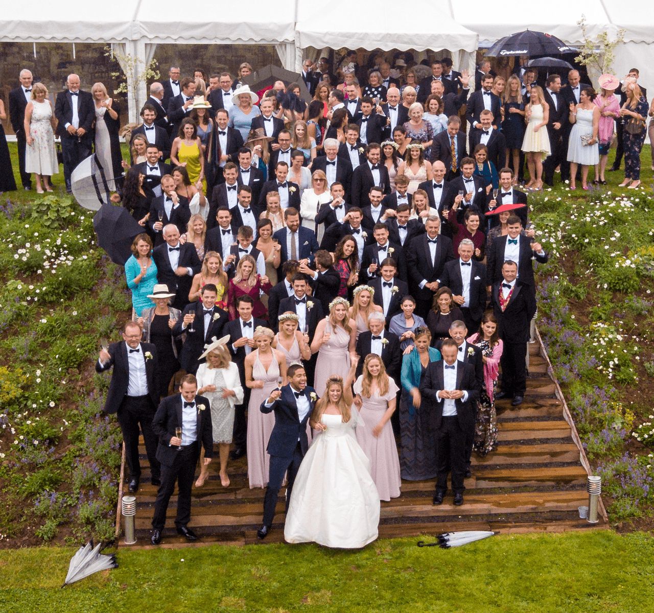 """Mavic Pro"" aerial drone photo of a wedding party in Compton Martin, Bristol"