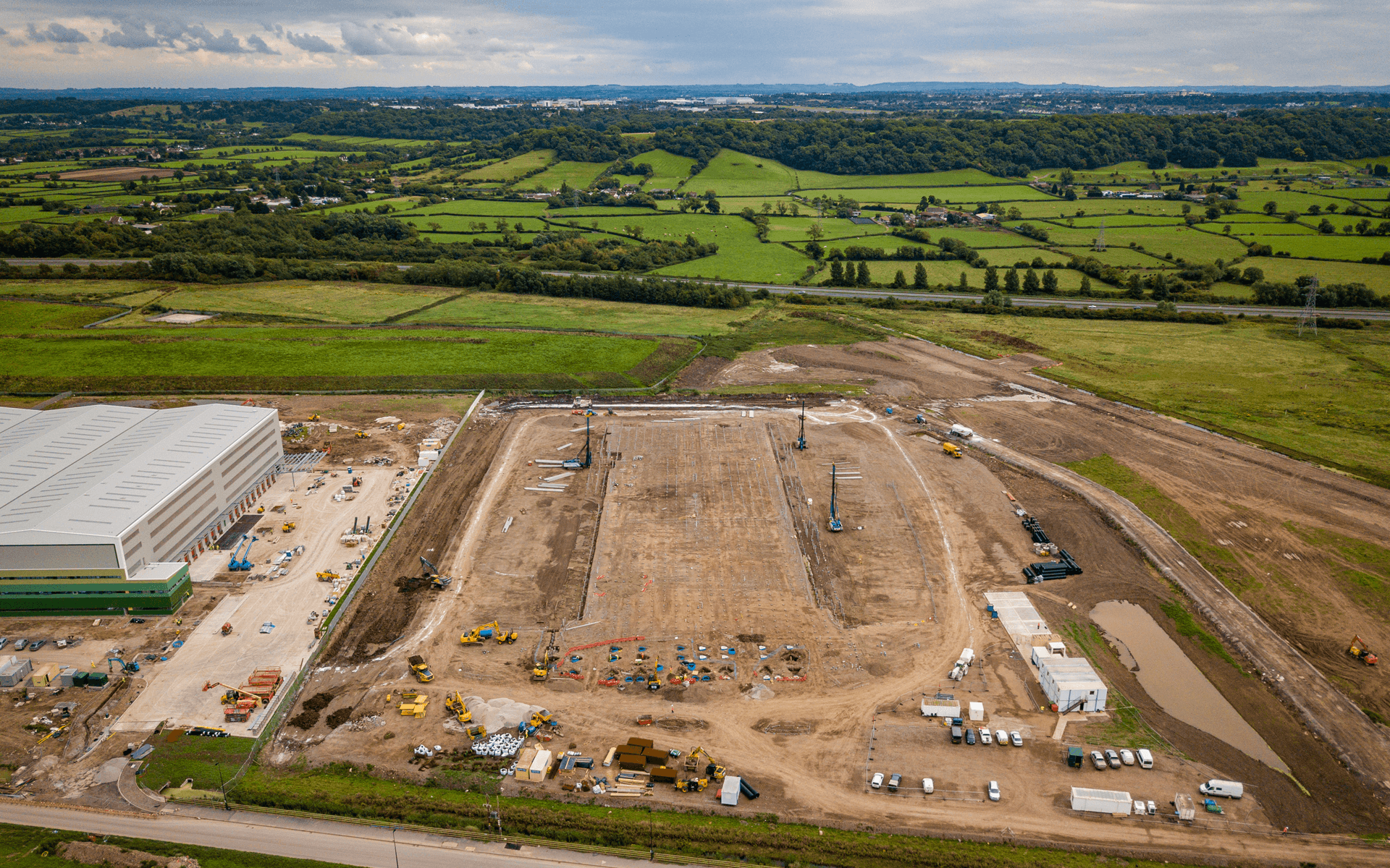 """Mavic 2 Pro"" aerial drone photo of the start of a ""Goldbeck"" contruction site of a DHL warehouse in Avonmouth, Bristol"