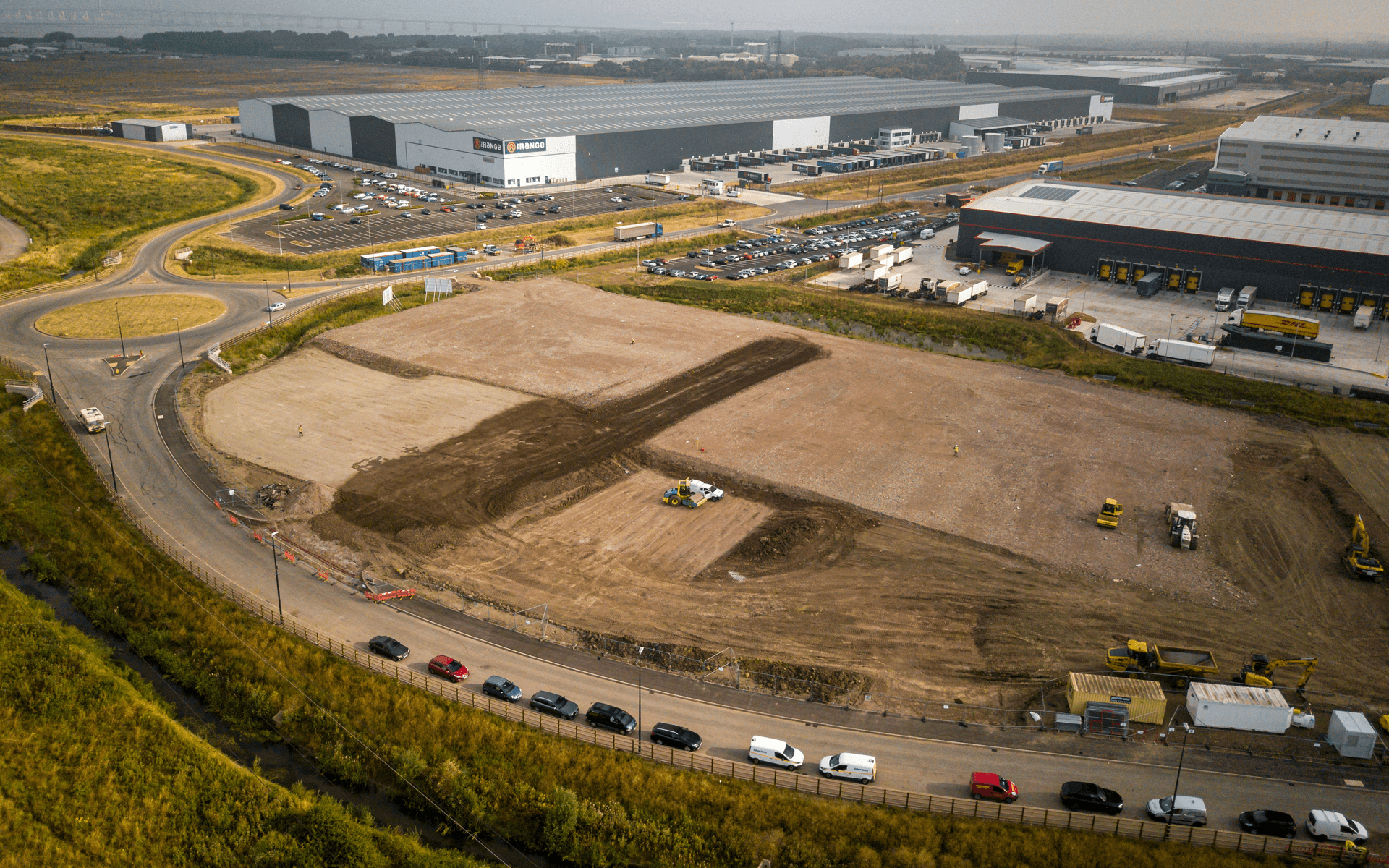 """Mavic Pro"" aerial drone photo of the start of a ""VINCI"" contruction site of several warehouses in Avonmouth, Bristol"