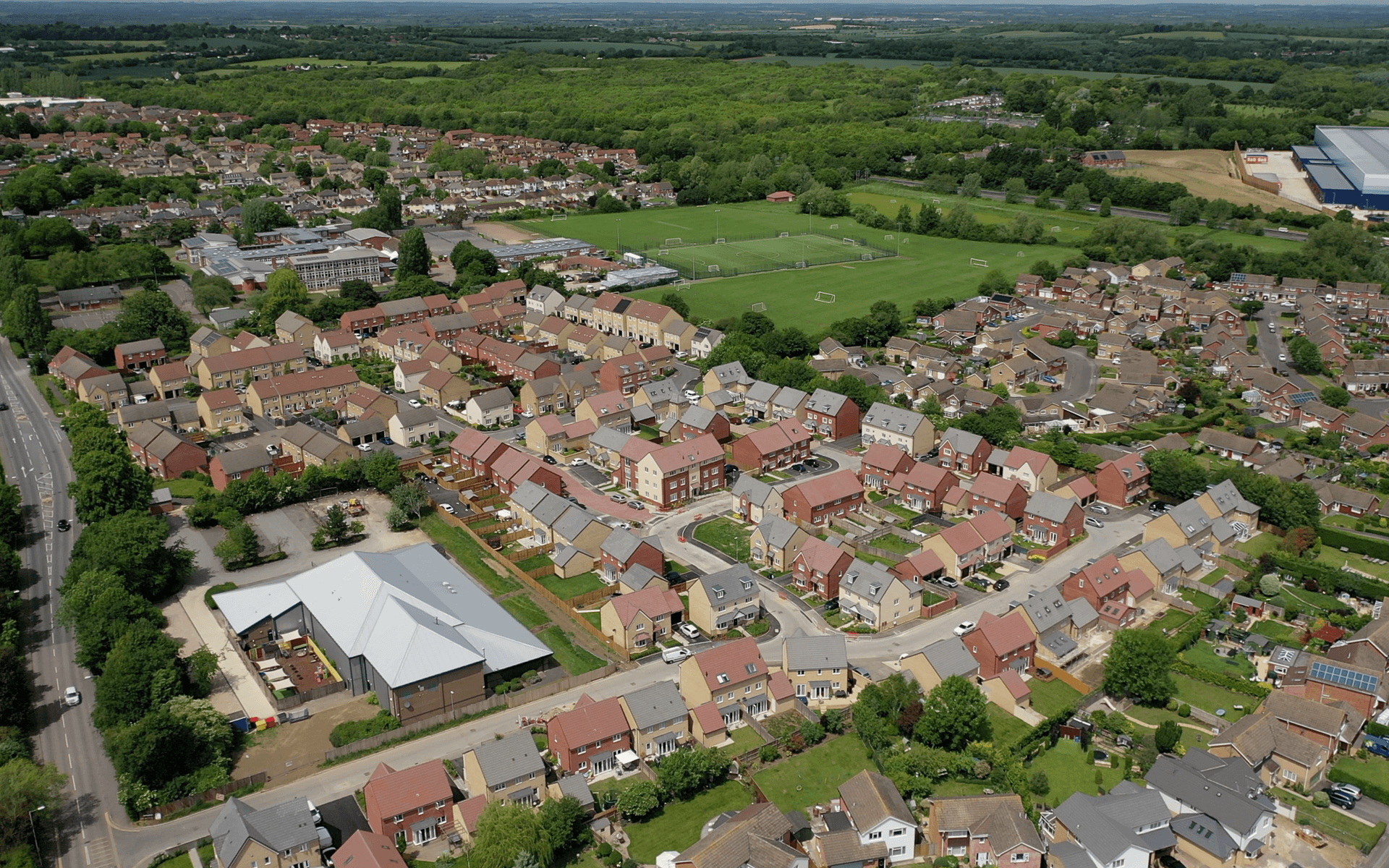 """Mavic 2 Pro"" aerial drone photo of a completed ""Barratt Homes"" development site in Kingsdown, Swindon"