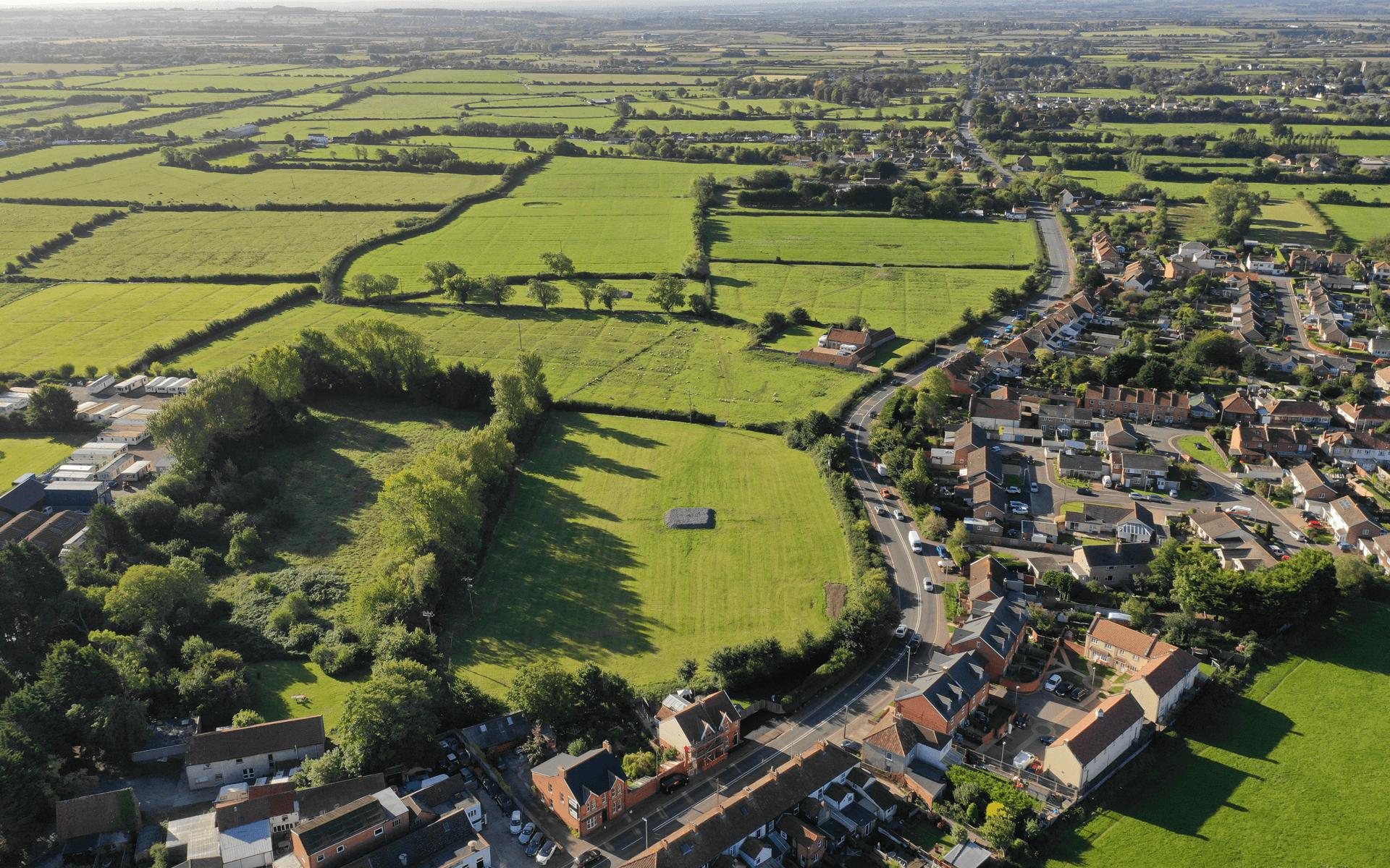 """Mavic 2 Pro"" aerial drone photo of a ""Barratt Homes"" development site in Alstone, Highbridge"