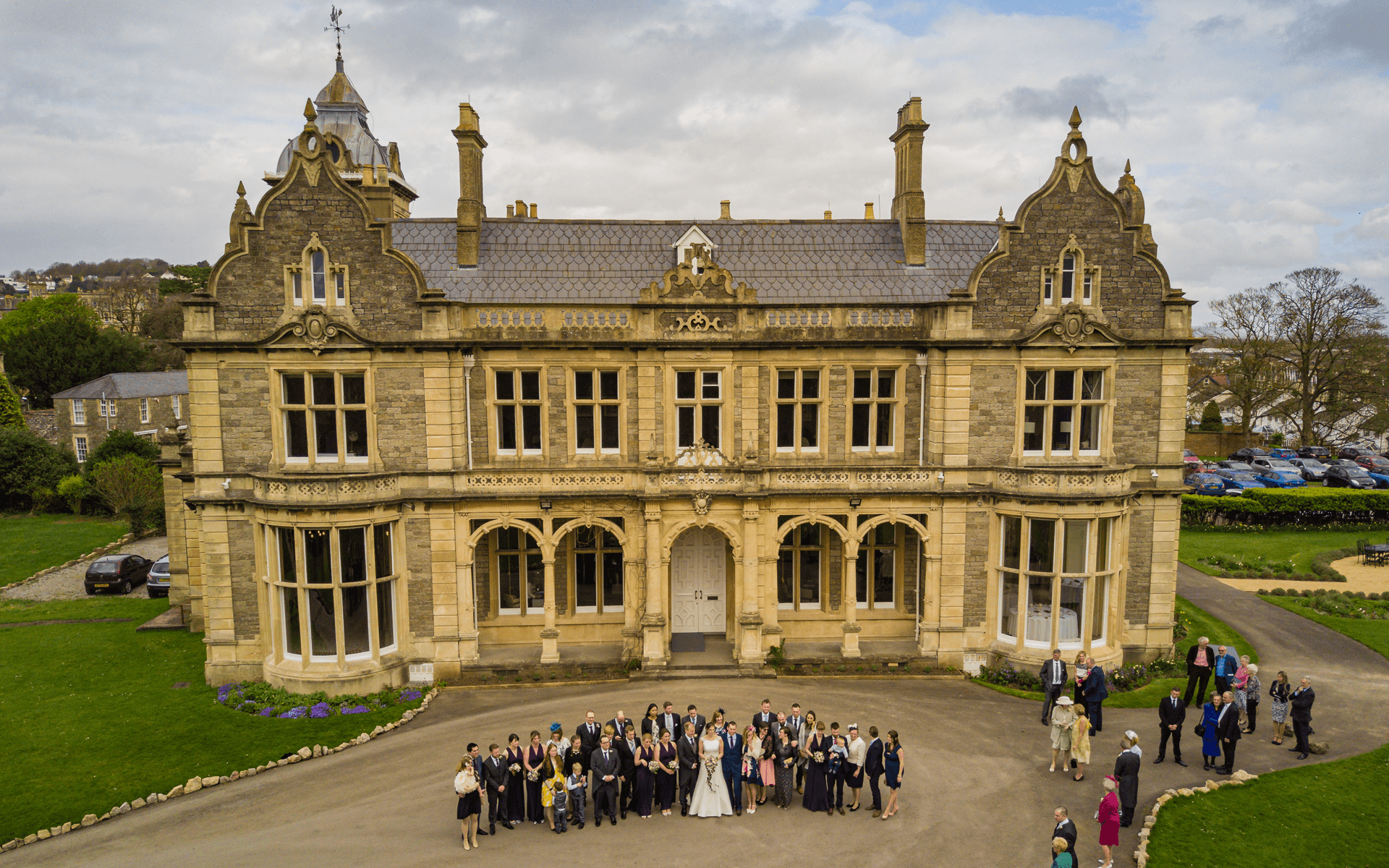 """Mavic Pro"" aerial drone photo of a wedding party at ""Clevedon Hall"" in Clevedon, Bristol"