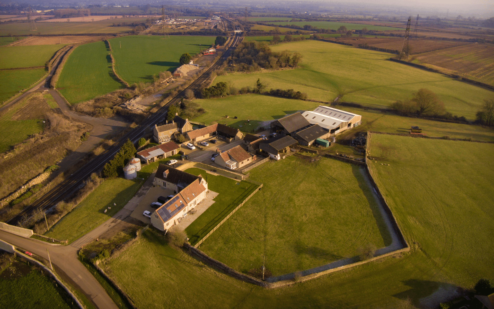 """DJI Inspire 1"" aerial drone photo of a farm in Hinton Charterhouse, Bath"