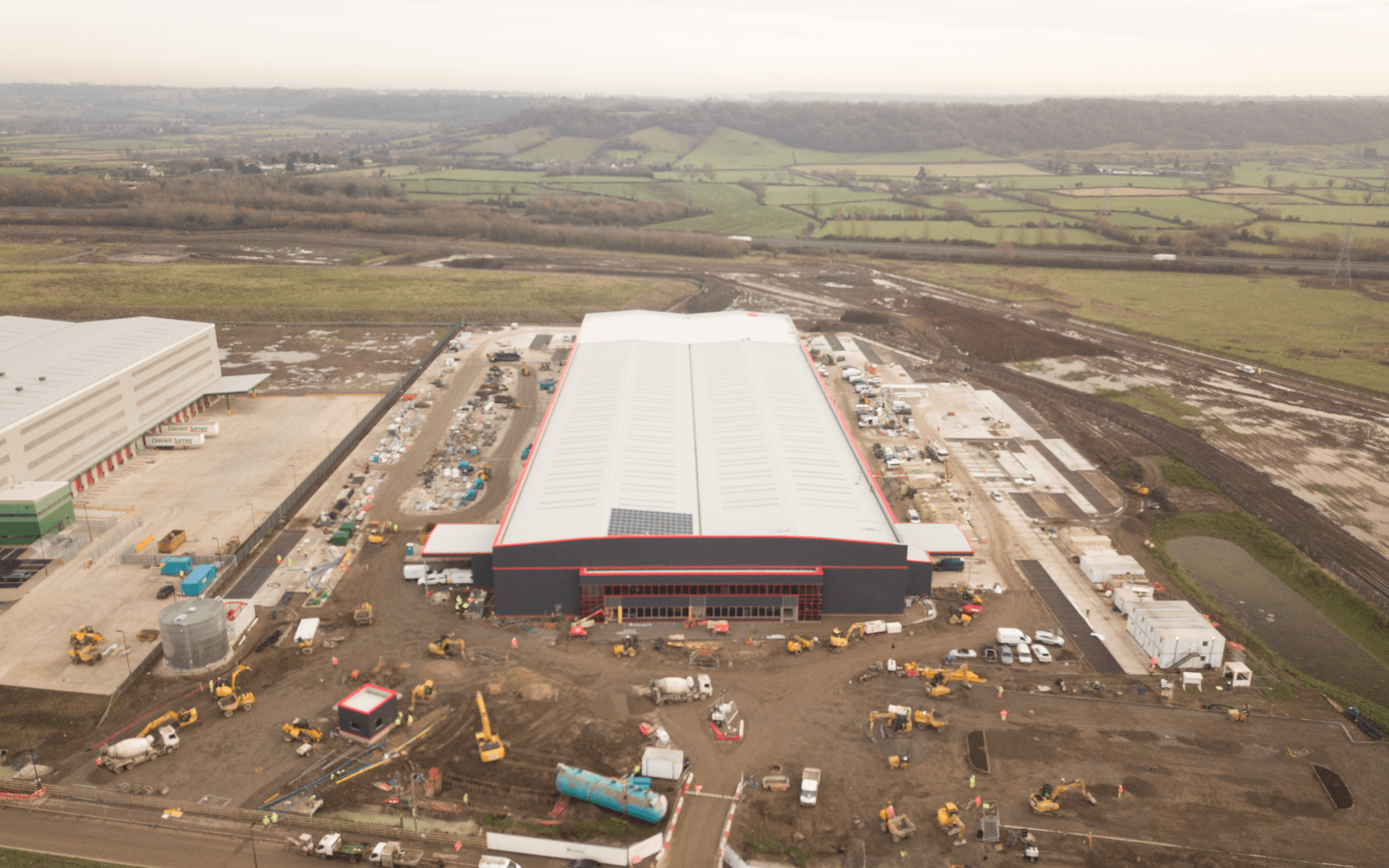 """Mavic 2 Pro"" aerial drone photo of near completion of a ""Goldbeck"" contruction site of a DHL warehouse in Avonmouth, Bristol"