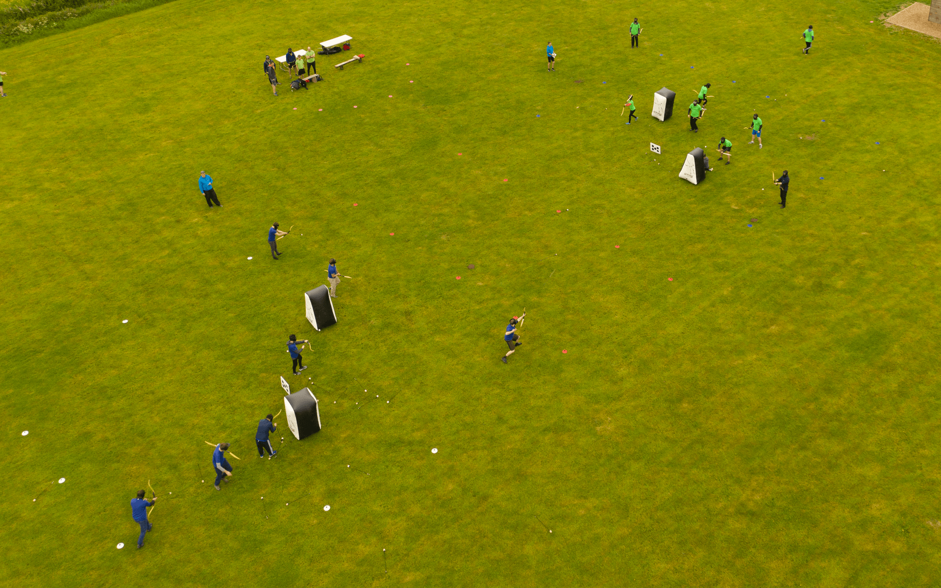 """Mavic 2 Pro"" aerial drone photo of ""Hydrock"" employees playing arrow tag at corporate event in almondsbury bristol"