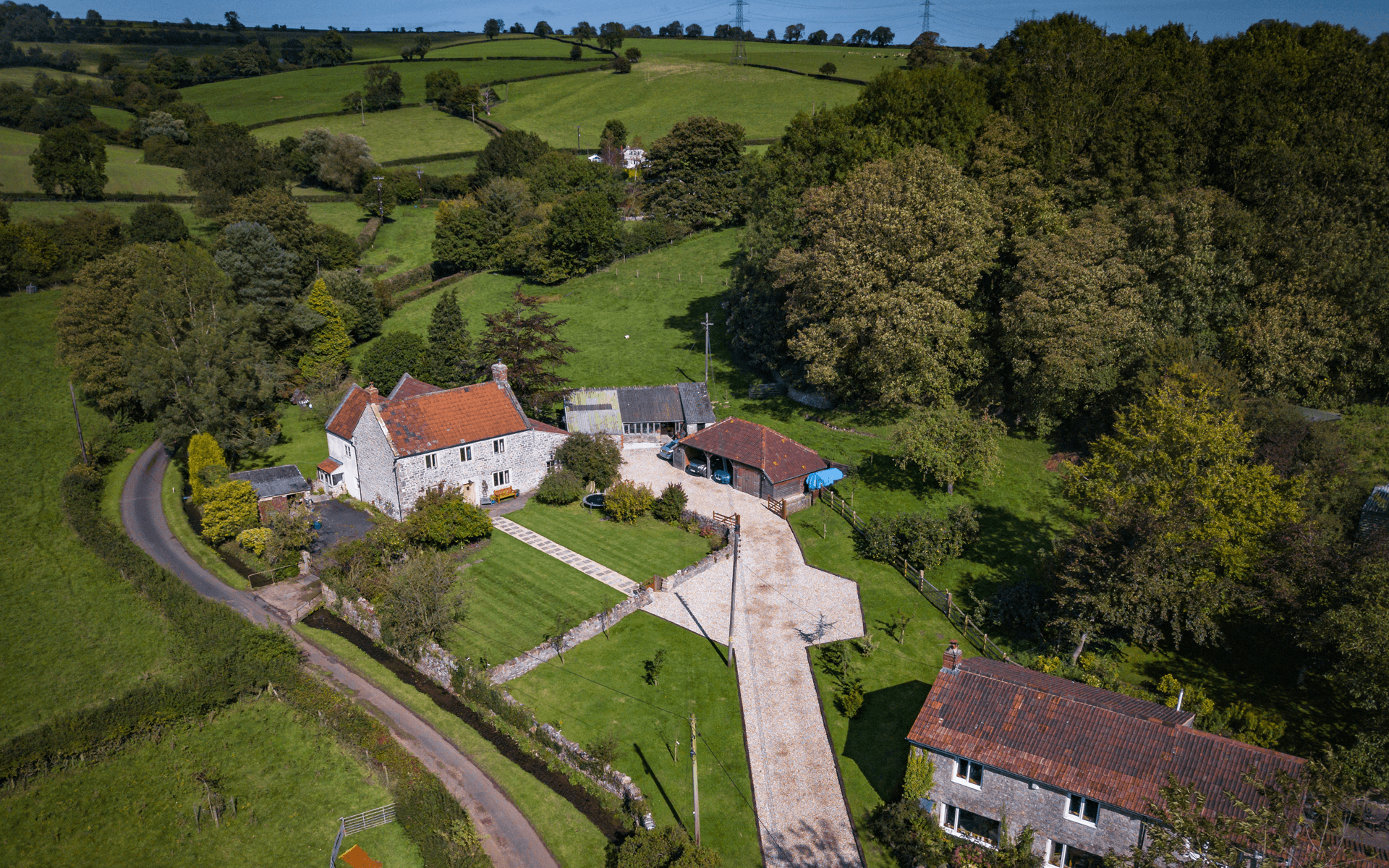 """Mavic Pro"" aerial drone photo of house in Prestleigh, Shepton Mallet for estate agency"