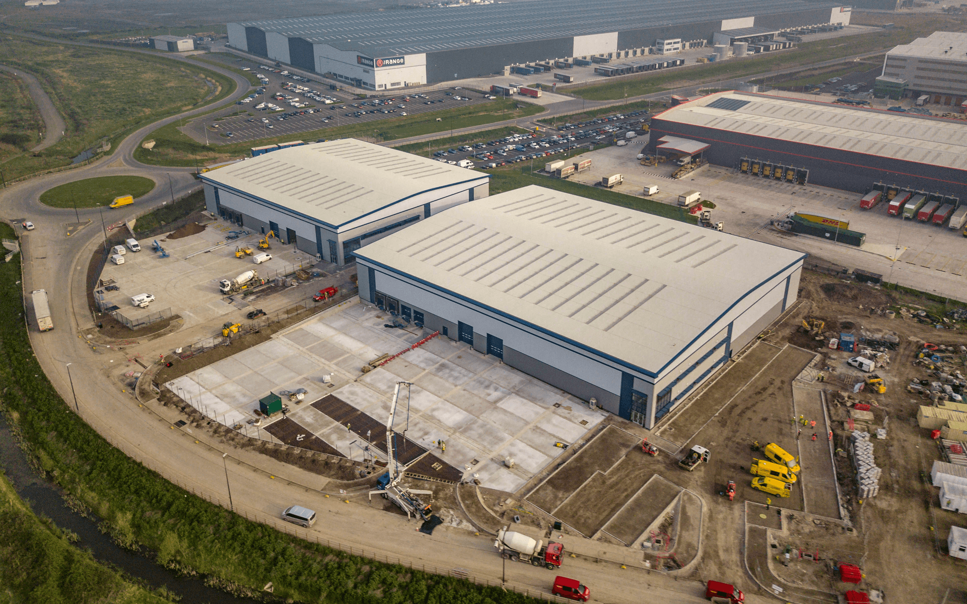 """Mavic Pro"" aerial drone photo of near completion of a ""VINCI"" contruction site of several warehouses in Avonmouth, Bristol"