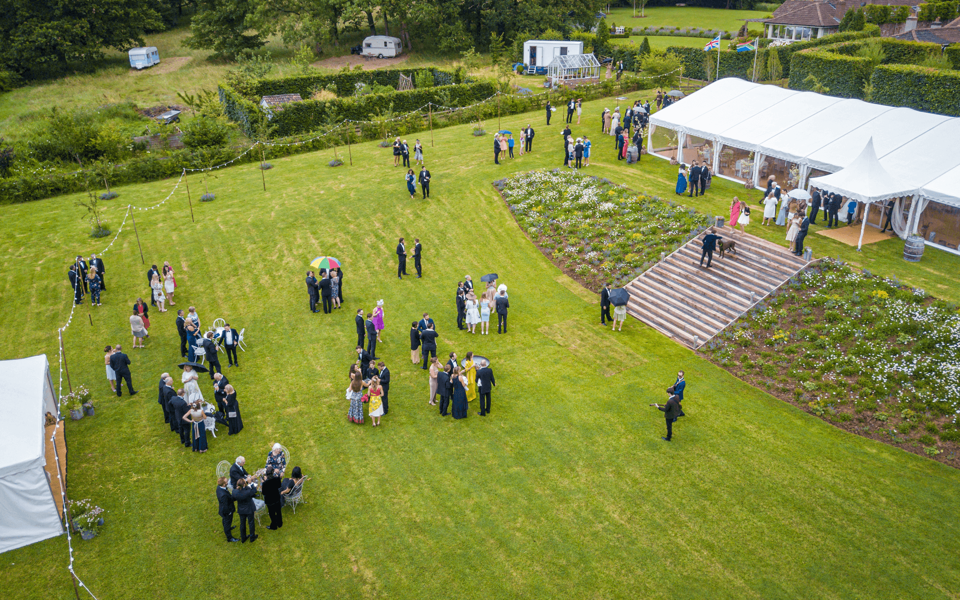 """Mavic Pro"" aerial drone photo of a wedding part and venue in Compton Martin, Bristol"