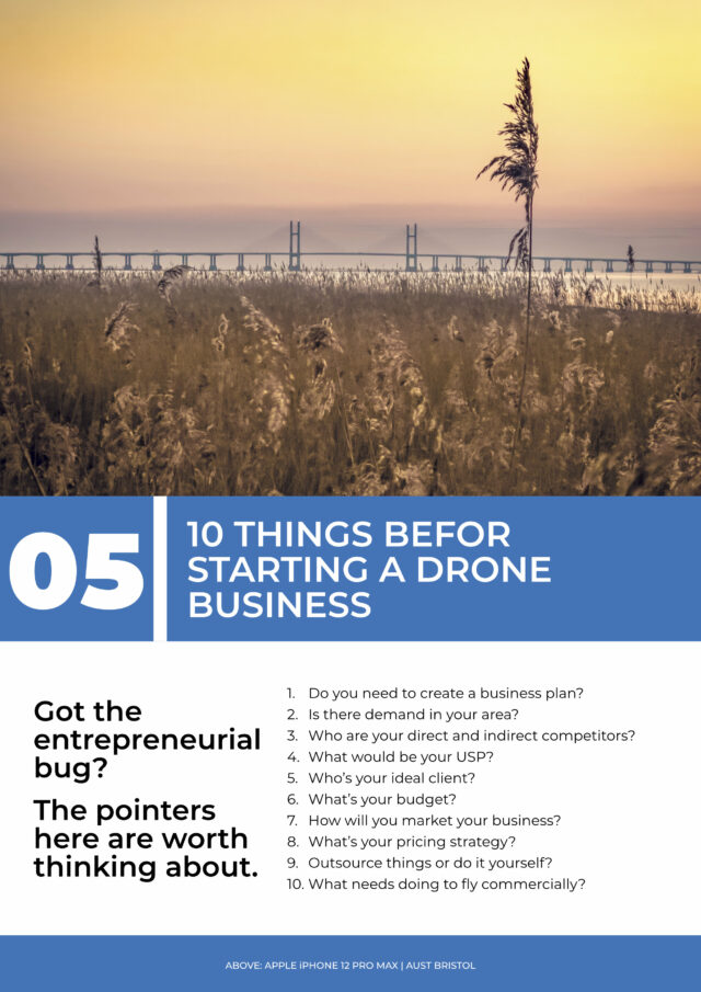"""The contents page of chapter 5 of a book called """"From Drone Hobby to Drone Business"""""""